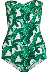 Dolce And Gabbana Printed Swimsuit Jade