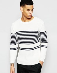 Pull And Bear Pullandbear Breton Striped Knit Jumper White