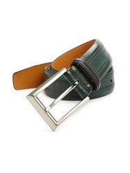 Saks Fifth Avenue Textured Leather Belt Green