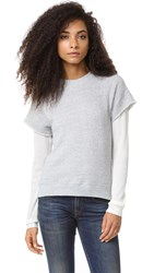 R 13 Double Layered Shrunken Sweatshirt Heather Grey