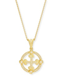 Aegean Diamond Round Cross Pendant Necklace Eli Jewels