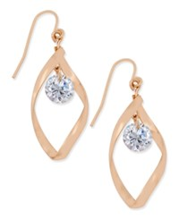Charter Club Rose Gold Tone Twisted Crystal Drop Earrings Only At Macy's