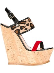 Dsquared2 Cork Wedge Heels Nude And Neutrals