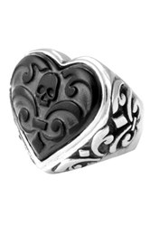 King Baby Studio Sterling Silver Carved Jet Heart Ring Beige