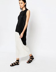 Warehouse Colourblock Pleated Midi Dress Black And White Multi