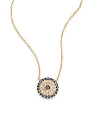 Argentovivo Cubic Zirconia 18K Gold Plated And Sterling Silver Pave Disk Pendant Necklace