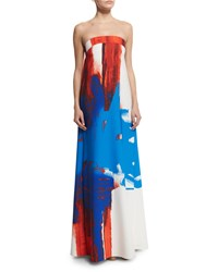 Milly Strapless Printed Trapeze Gown Size 6 Multi