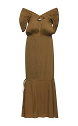 Barbara Casasola Off The Shoulder Pleated Dress Brown
