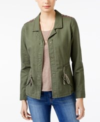American Rag Embroidered Lightweight Parka Only At Macy's Dusty Olive