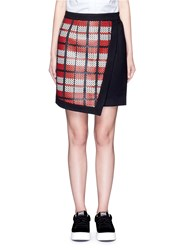 Cynthia And Xiao Textured Tartan Asymmetric Wool Cashmere Blend Skirt Multi Colour