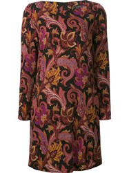 Etro Floral Print Shift Dress Black