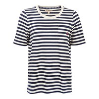 Barbour Brae Stripe T Shirt Ecru Marl Navy