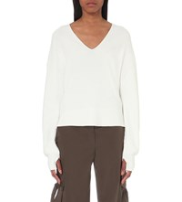 Helmut Lang V Neck Cotton And Cashmere Blend Jumper White