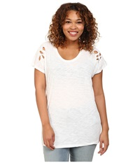 Dkny Plus Size Embroidered Eyelet Tee White Women's T Shirt