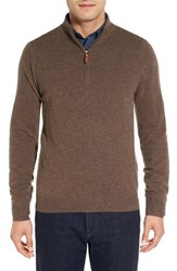 Nordstrom Men's Big And Tall Men's Shop Regular Fit Cashmere Quarter Zip Pullover Brown Fawn