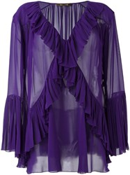 Roberto Cavalli Ruffle Detail Sheer Blouse Pink And Purple