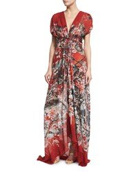 Roberto Cavalli Short Sleeve Twist Front Printed Gown Red Pattern Women's