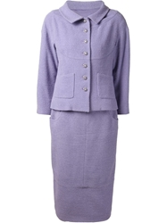 Chanel Vintage Skirt Suit Pink And Purple