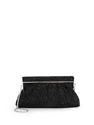 Saks Fifth Avenue Clape Swirl Beaded Clutch Black