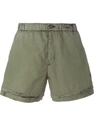 No21 Stained Effect Shorts Green