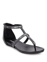 Kenneth Cole Reaction Beaded Thong Sandals Black