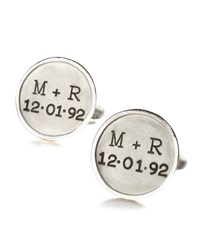 Personalized Round Cuff Links 2 Lines Silver Men's Heather Moore
