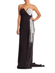 Pamella Roland Draped Crystal And Sequined Strapless Gown