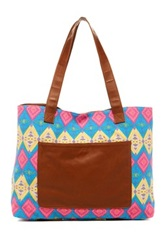 T Shirt And Jeans Diamond Printed Tote Pink
