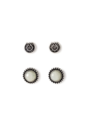 Forever 21 Etched Faux Stone Stud Set Jade B.Silver
