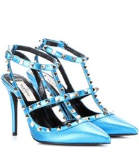Valentino Rockstud Metallic Leather Pumps Blue