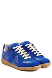 Maison Martin Margiela Leather And Suede Replica Sneakers Blue