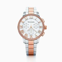 Tiffany And Co. Atlas Dome Watch In 18K Rose Gold Stainless Steel With Diamonds. 18K Rose Gold Stainless Steel