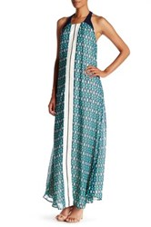 Adelyn Rae Woven Printed Halter Maxi Dress Green