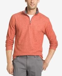 Izod Men's Textured Quarter Zip Sweater Roobios Tea