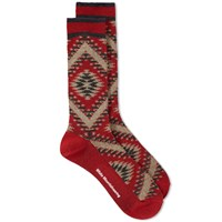 White Mountaineering Native Pattern Middle Sock Red