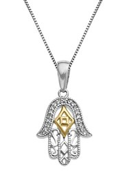 Lord And Taylor Sterling Silver 14Kt Yellow Gold Pendant Necklace With Diamonds