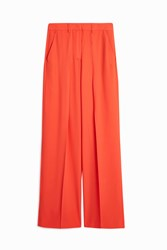 Msgm Crepe Wide Leg Trouser Orange