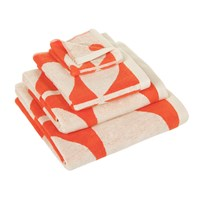Orla Kiely Large Sixties Stem Towel Red And Neutral Bath Sheet