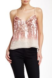 Halston Sequined Chiffon Cami Blouse Pink