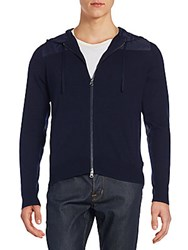 Saks Fifth Avenue Wool And Cashmere Hoodie Navy