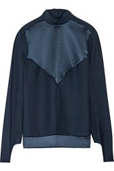 Dion Lee Silk Satin And Crepe Blouse Blue