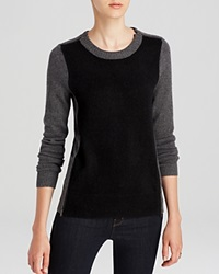 C By Bloomingdale's Zip Detail Cashmere Sweater Black Front Charcoal Gunmetal Zipper