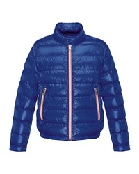 Moncler Rigel Zip Front Lightweight Down Puffer Coat Dark Blue