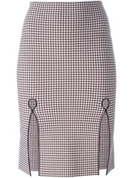 Alexander Wang Gingham Pencil Skirt Red