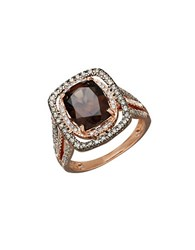 Lord And Taylor Smokey Quartz Diamond 14K Rose Gold Ring Brown