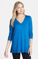 Eileen Fisher Women's Deep V Neck Slim Merino Tunic Crystal Blue