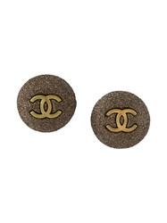 Chanel Vintage Logo Disc Clip On Earrings Grey