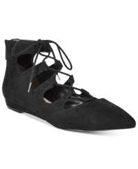 Bar Iii Lasso Lace Up Flats Only At Macy's Women's Shoes Black