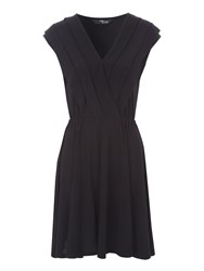 Jane Norman Pleat Collar Day Dress Black