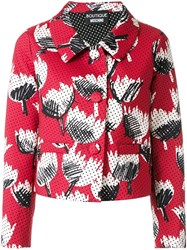 Boutique Moschino Perforated Floral Jacket Red
